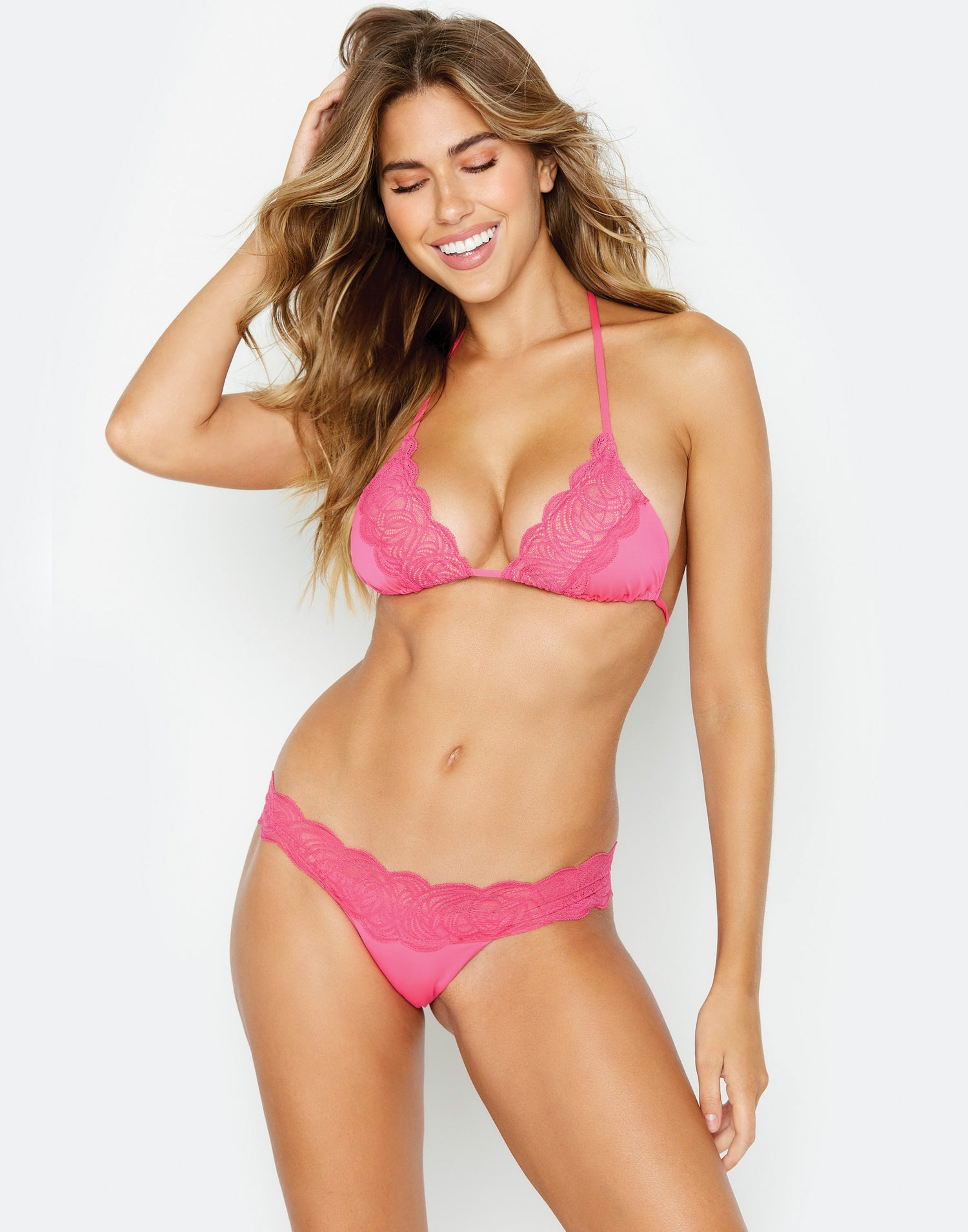 Under Your Spell Triangle Bikini Top in Barbie Pink with Lace - front view