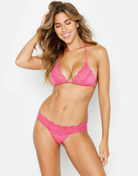 Under Your Spell Skimpy Bikini Bottom in Barbie Pink with Lace Band - front view