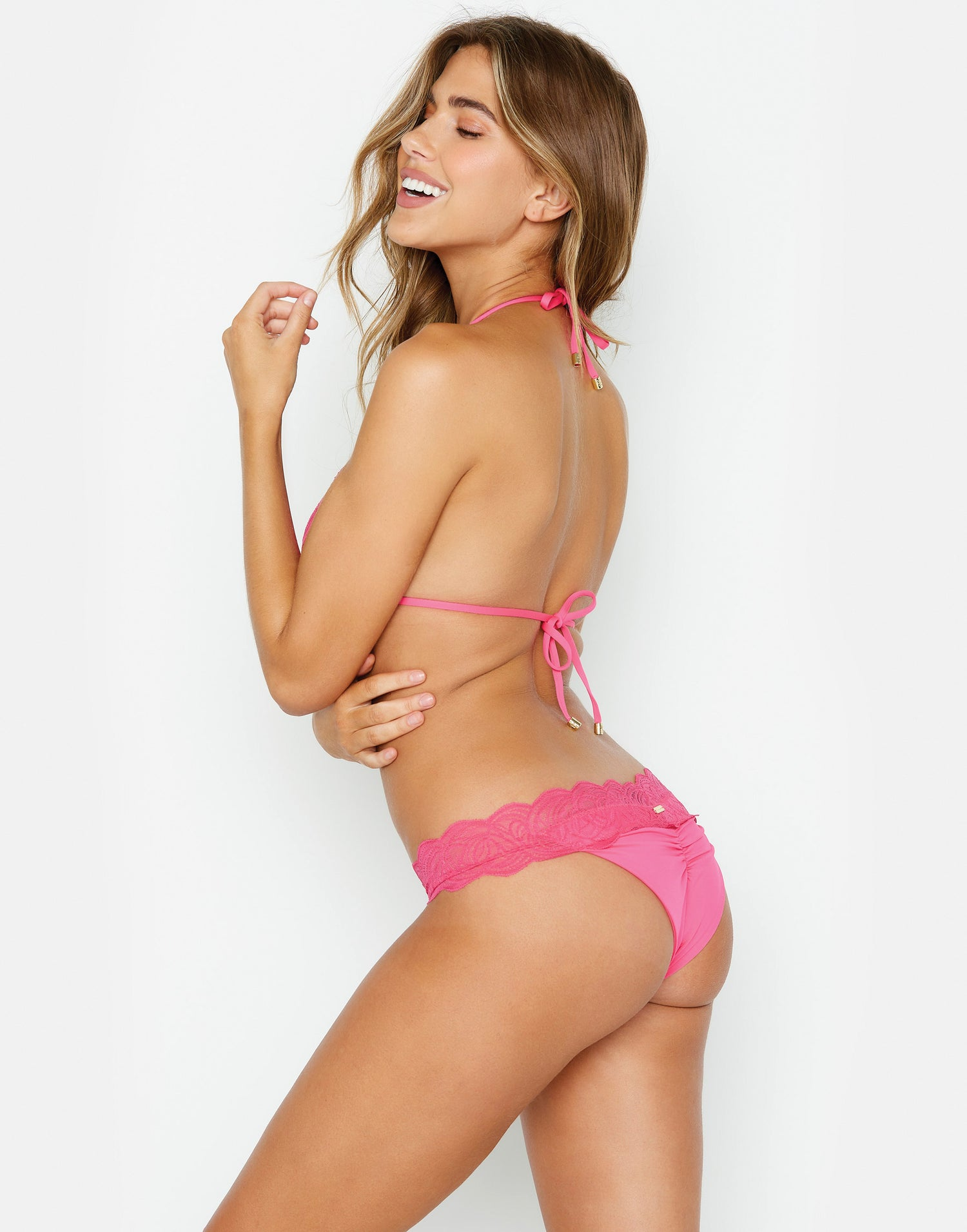 Under Your Spell Triangle Bikini Top in Barbie Pink with Lace - side view