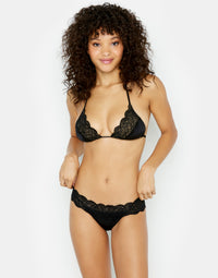 Under Your Spell Triangle Bikini Top in Black with Lace - front view