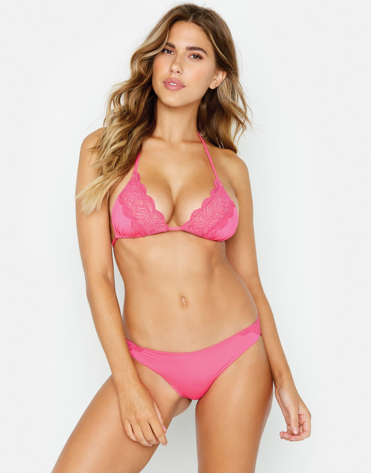 Under Your Spell Brazilian Bikini Bottom in Barbie Pink with Lace - front view