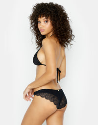 Under Your Spell Brazilian Bikini Bottom in Black with Lace - back view