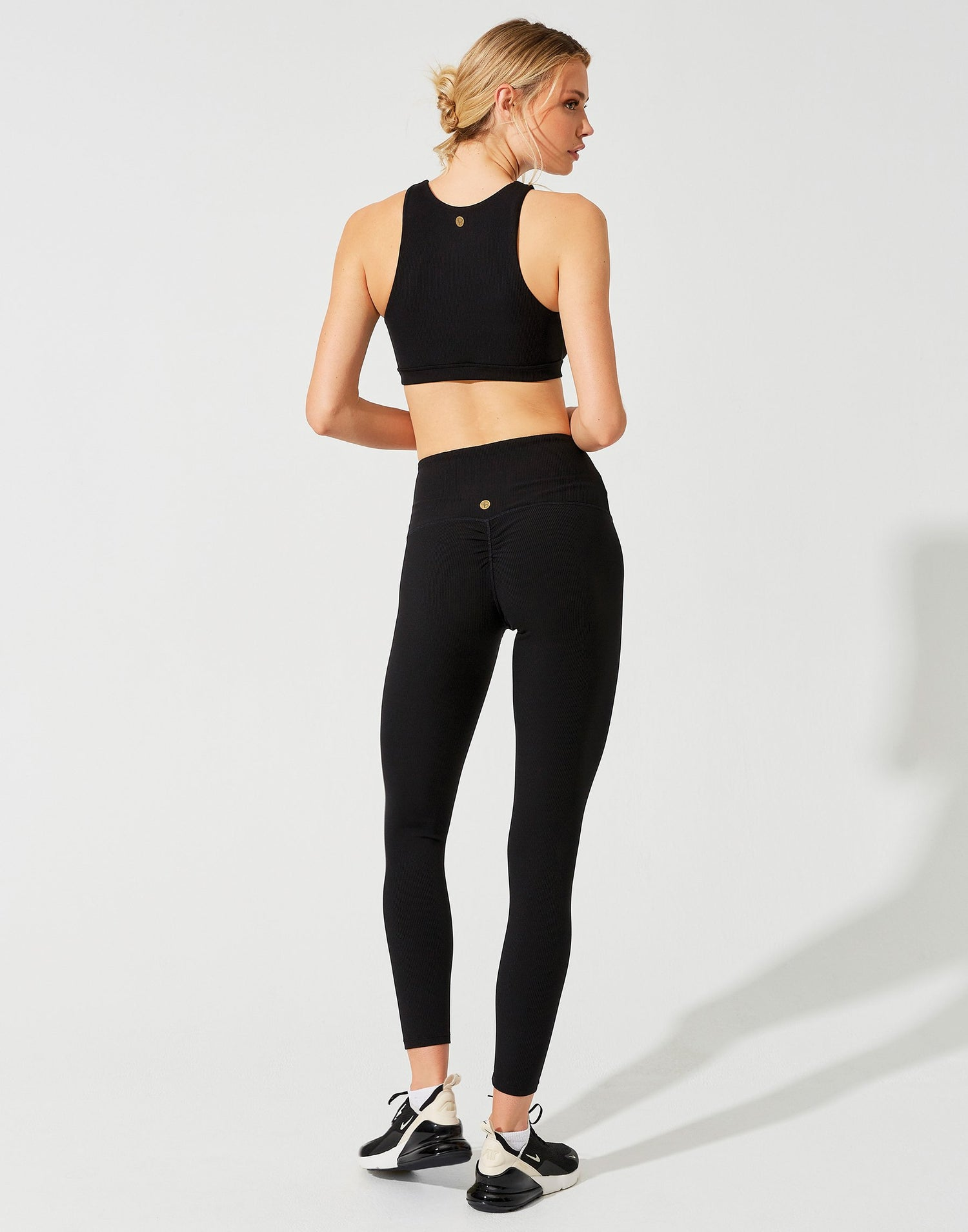 Victoria Crop Top in Black Rib - back view