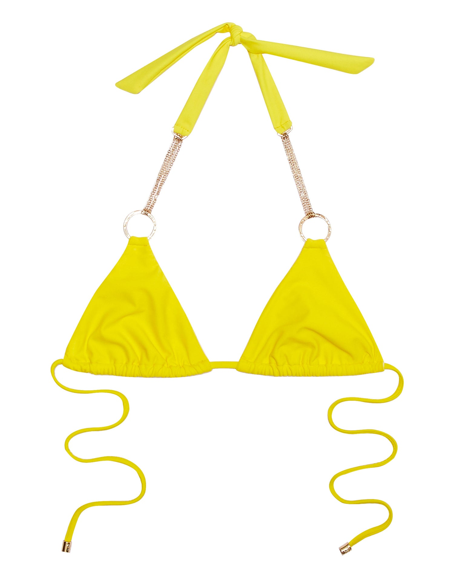 Zara Triangle Bikini Top in Sunshine Yellow with Gold Hardware - product view