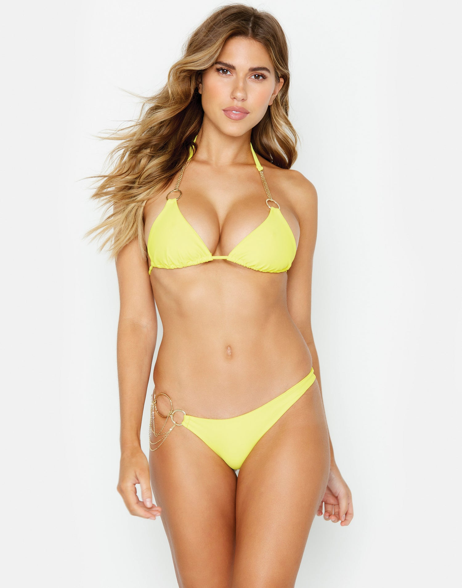Zara Triangle Bikini Top in Sunshine Yellow with Gold Hardware - front view