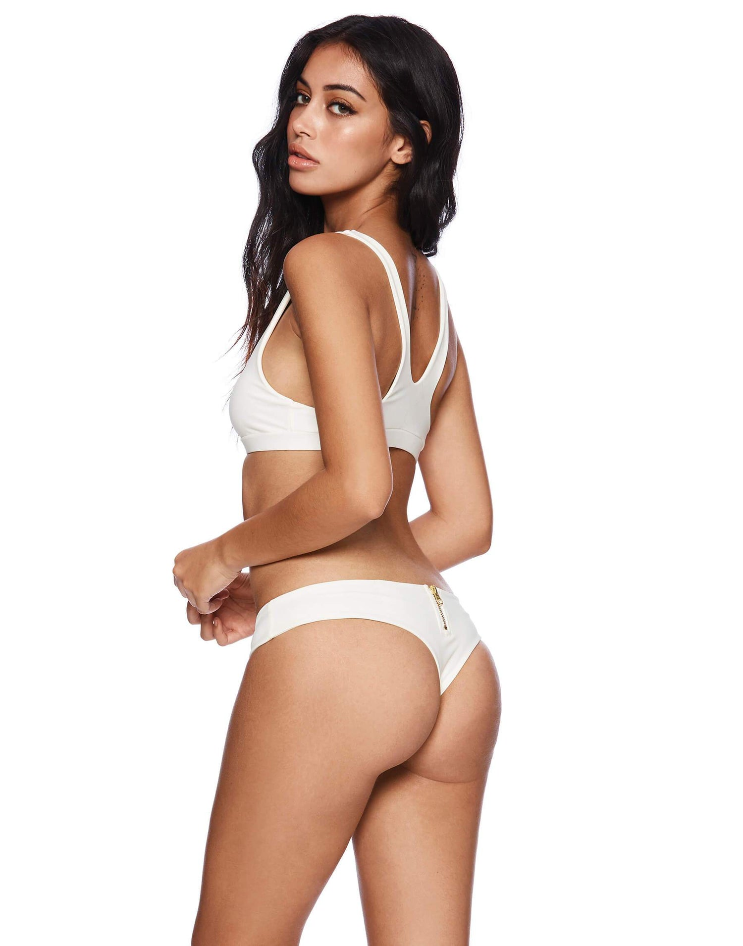 Zoey Brazilian Bikini Bottom in Ivory - back view
