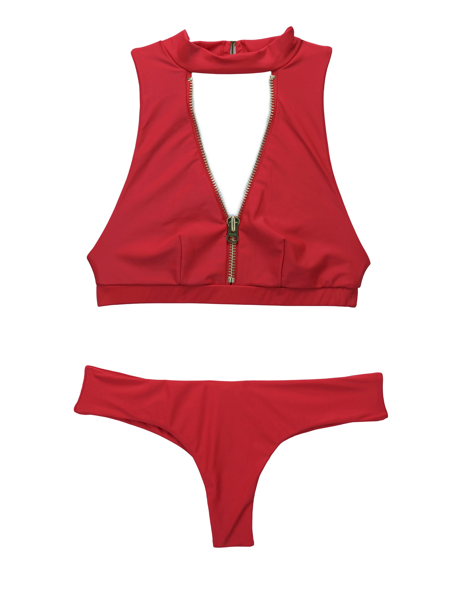 Zoey High Neck Bikini Top in Red - product view
