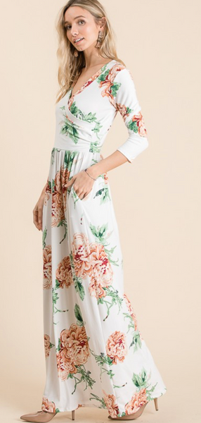 Floral Maxi Dress - Ivory