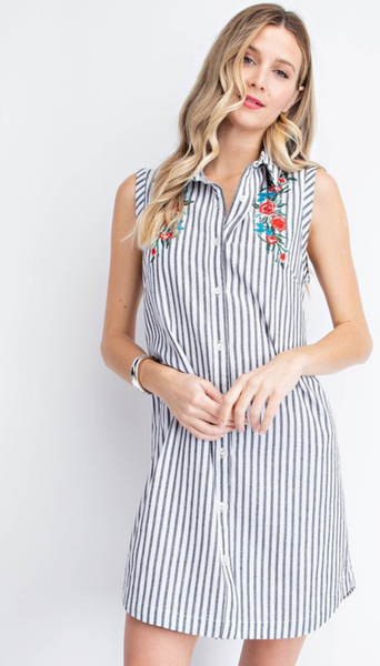 Stripe Shirt Dress - White/Black