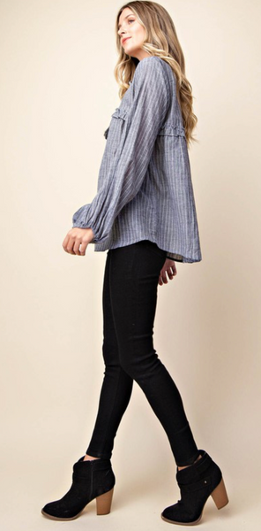 Pin Stripe Cotton Blouse - Ash Grey