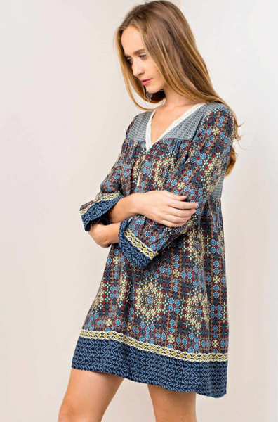 Boho Border Print Dress - Steel Blue