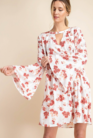 Choker Neck Floral Dress - Cream/Poppy