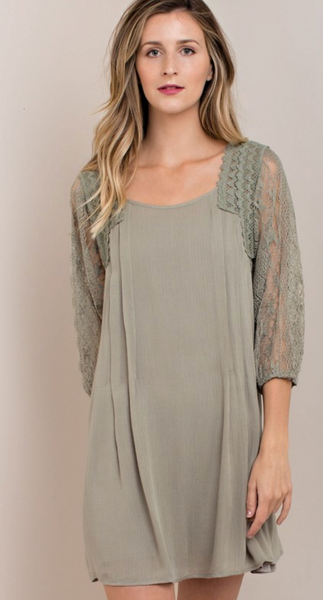 Lace Sleeve Dress - Faded Olive