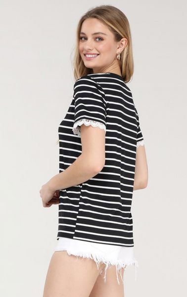 Striped Lace Sleeve Top - Black/White