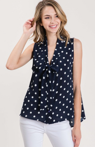 Curvy Polka Dot Blouse - Navy/White