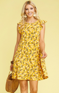 Ruffle Sleeve Dress - Mustard Floral