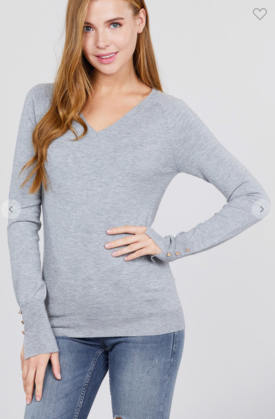 V-Neck Button Detail Sweater - Heather Grey