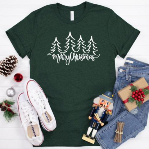 Merry Christmas Graphic Tee - Heather Forest Green