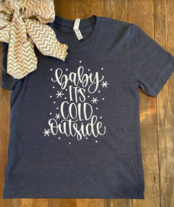 Baby It's Cold Outside Graphic Tee - Heather Navy