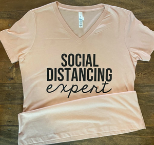 Social Distancing Expert Graphic Tee - Peach