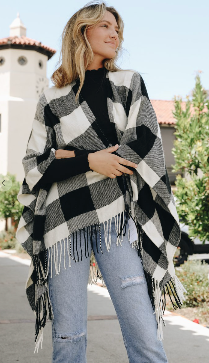 Buffalo Plaid Shawl w/Fringe Hem - Black/Cream