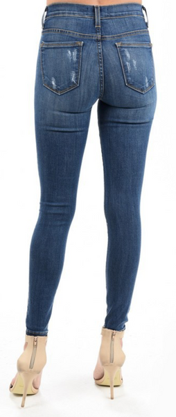 Medium Wash Lightly Distressed Mid-Rise Skinny Jean