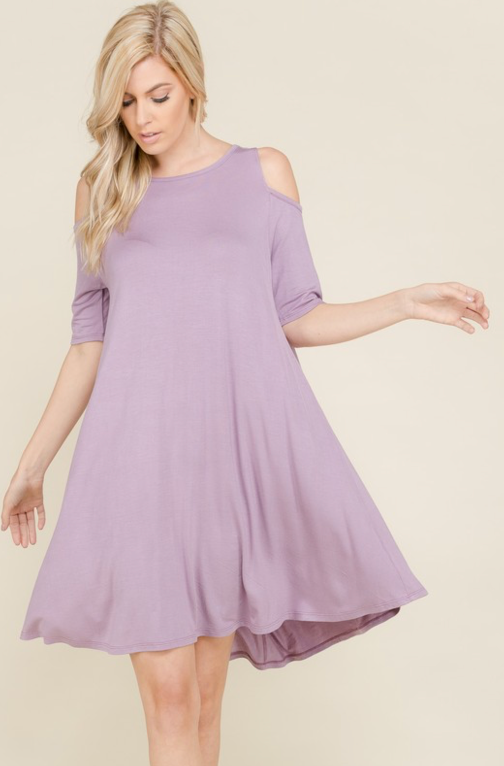 Curvy Cold Shoulder Flare Dress - Dusty Lavender