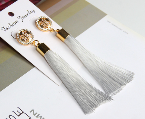 Long Tassel Earrings - White