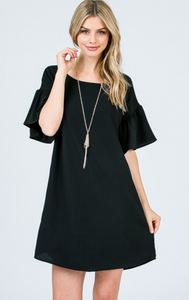 Bell Sleeve Shift Dress - Black