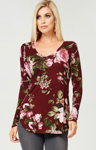 Curvy Floral V-Neck Long Sleeve Top - Burgundy