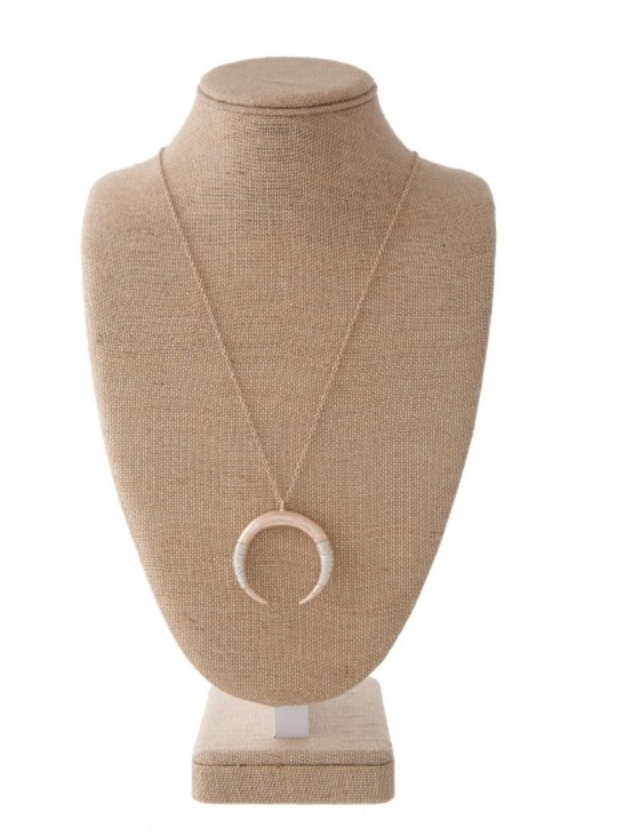 Horn Pendant Necklace - Rose Gold