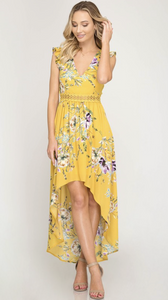 Hi-Low Floral Print Maxi Dress - Yellow
