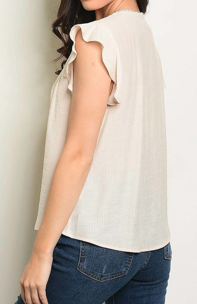 Lace Trim Ruffle Sleeve Top - Natural