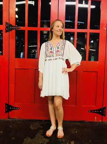 V-Neck Embroidered Dress w/ Tassels - Off White