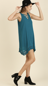 Fringe Hem CrissCross Dress - Teal