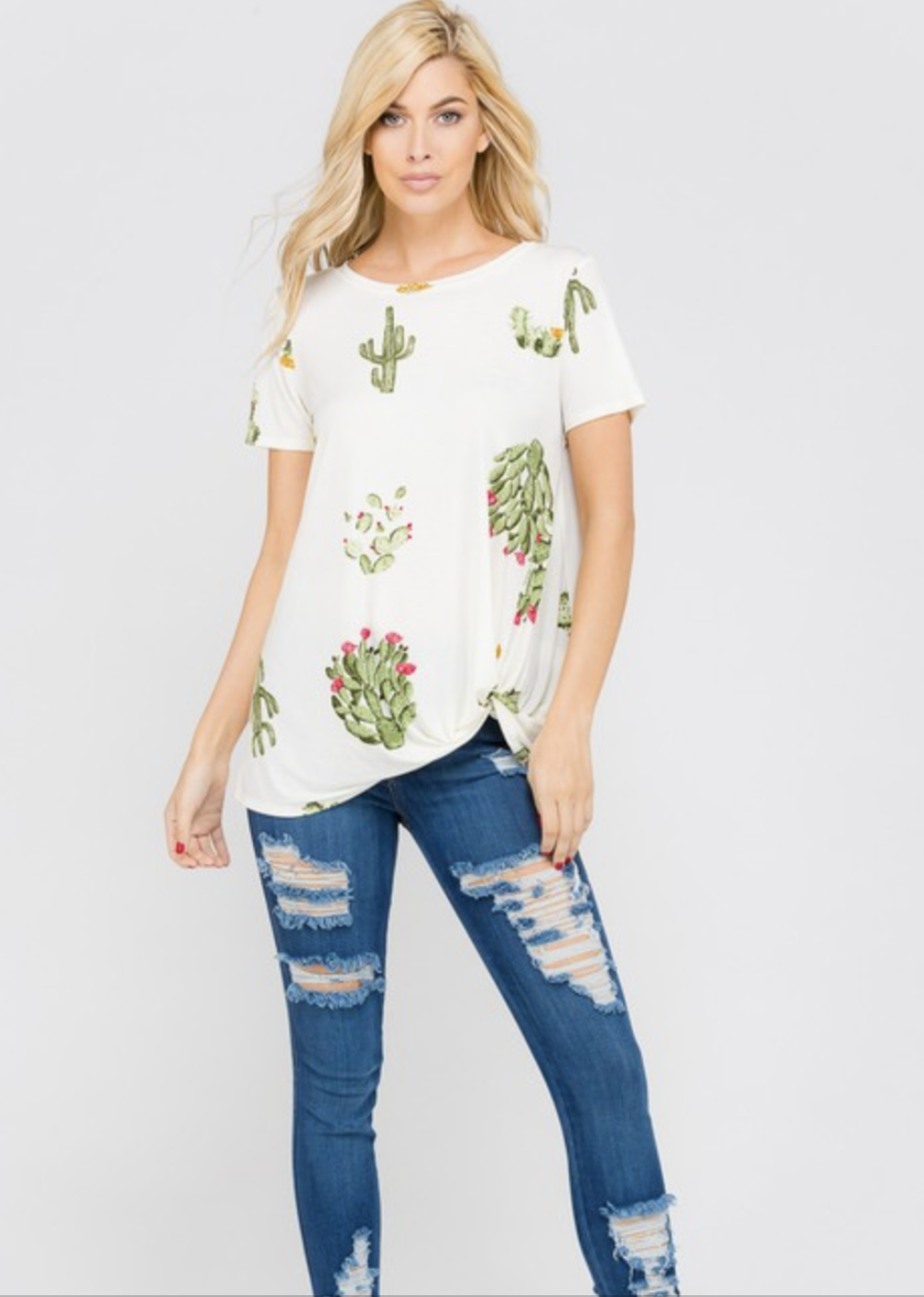 Cactus Print Front Knot Top - Ivory