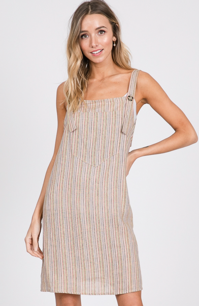 Multi Striped Overall Dress - Multi Color