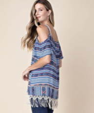 Cold Shoulder Print Top with Fringe Hem - Royal Blue