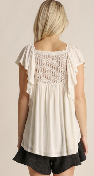Crochet Back Ruffle Sleeve Top - Ivory