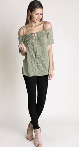 Open Shoulder Lace Detail Top - Sage