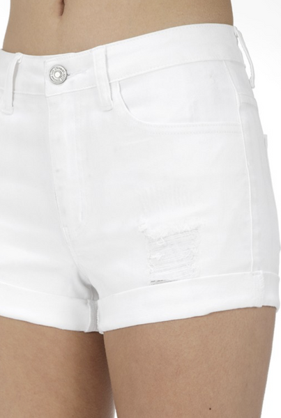 White Lightly Distressed KanCan Shorts