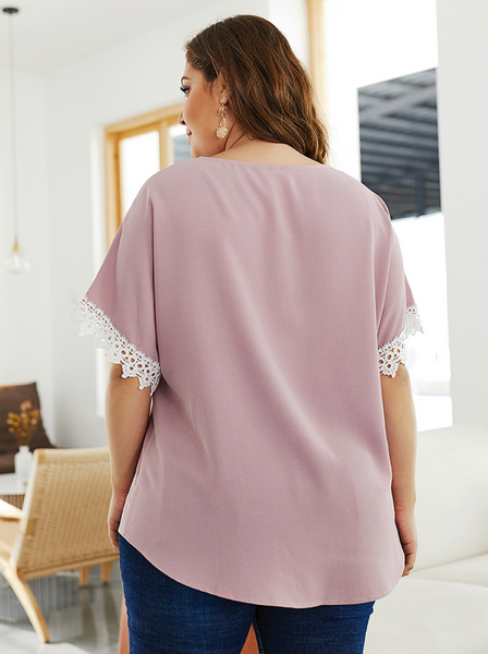 Curvy Crochet Lace Sleeve Button Down Top - Rose Pink