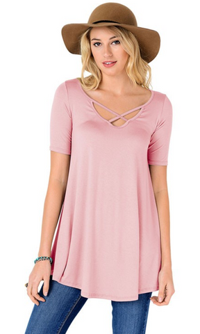 Criss Cross Tunic Top - Pink