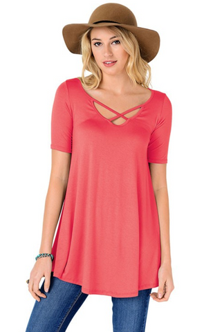 Criss Cross Tunic Top - Fusion Rose