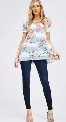 Criss Cross Neck Floral Striped Top - Blue/White