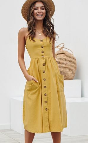 Curvy Sleeveless Button Down Pocket Dress - Mustard Yellow