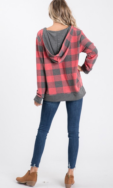 Buffalo Plaid V-Neck Hoodie - Red/Charcoal