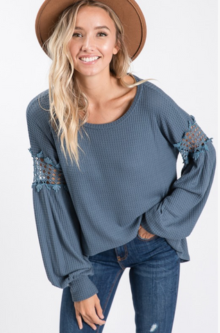 Waffle Knit Balloon Sleeve Top - Teal