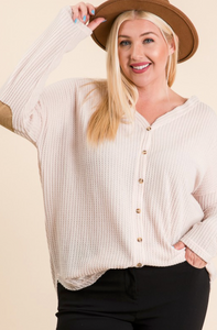 Curvy Waffle Knit Top With Elbow Patches - Cream