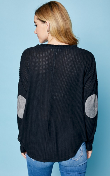 Waffle Knit Top with Elbow Patches - Black